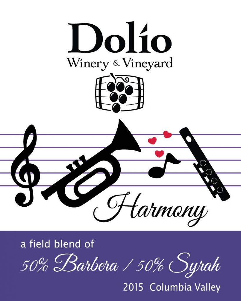 Dolio Winery 2015 Harmony red blend of 50% Barbera and 50% Syrah