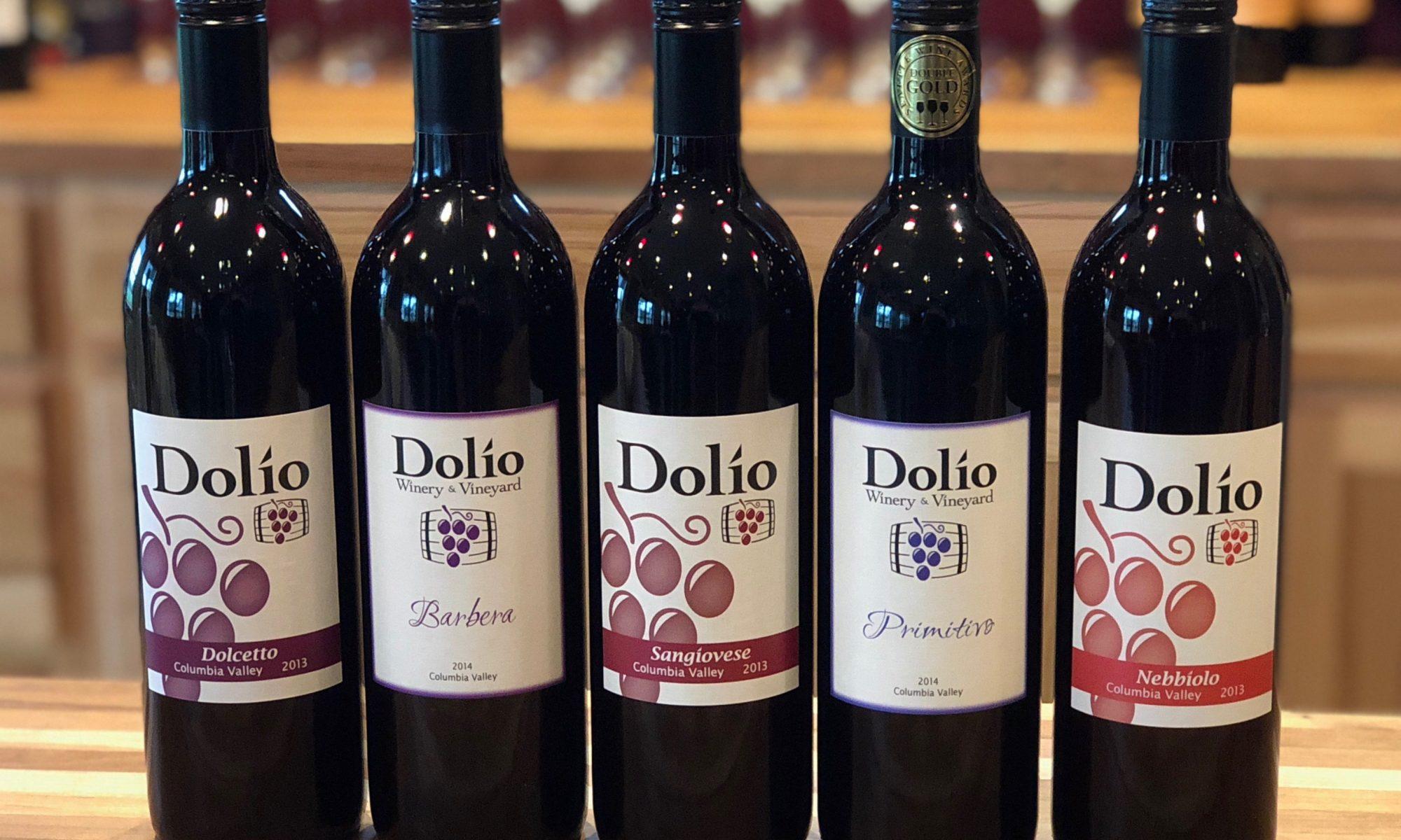Italian varietals at Dolio Winery including Dolcetto, Barbera, Sangiovese, Primitivo and Nebbiolo