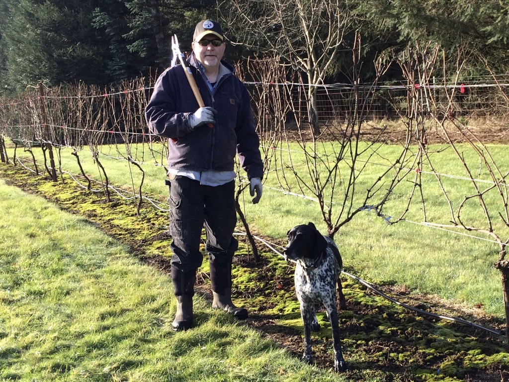 Dolio Winery owner and winemaker, Don Klase, and Abby in Dolio vineyard