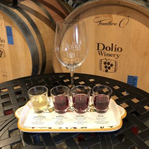 Tasting flight at Dolio Winery